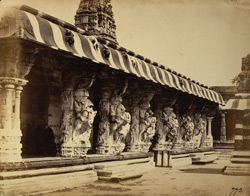 Carved pillars of façade of mandapa of the Kailasanatha Temple, Taramangalam
